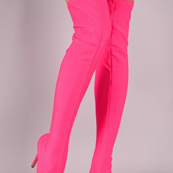 Neon Pink Stretch Stocking Pointy Toe OTK Thigh Boot High Heels