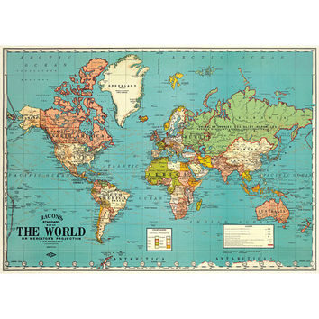 Vintage world map chart