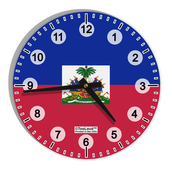 "Haiti Flag AOP 8"" Round Wall Clock with Numbers All Over Print"