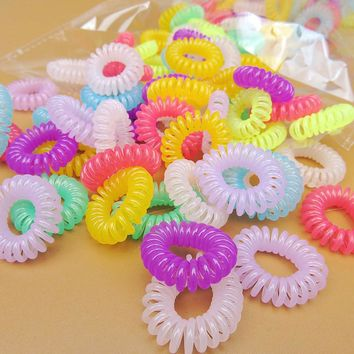 12pcs/lot Women Girl Telephone Line Hair Gum Cord Bobble Traceless Elastic Ponytail Holders Hair Band Ring Scrunchy Gum For Hair