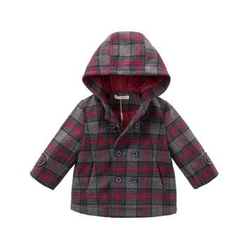 DB5564 dave bella autumn winter baby boys wool jacket children fashion plaid clothes kids toddler hooded coat lolvely children