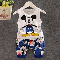 2017 New Cartoon Summer Baby Boy Clothing Set Tank Top + Shorts Kid Boy Summer Set Children Boy Clothes Set Sleeveless