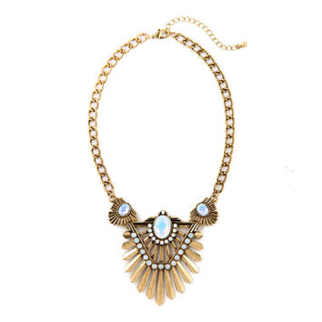 Gem Fanned Collar Necklace