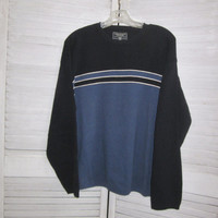90s Cotton Crewneck Sweater Blue and Navy Mens Size Large Pullover Crewneck Nautical Boating Sailing Preppy Sweater