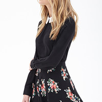 FOREVER 21 Floral Print Skater Skirt Black/Red