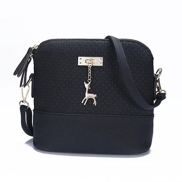 New female bag quality leather bag Quilted shell bag pendant cute deer