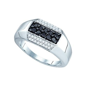 10kt White Gold Mens Round Black Colored Diamond Band Ring 3/4 Cttw