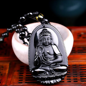 High Quality Unique Natural Black Obsidian Carved Buddha Lucky Amulet Pendant Necklace For  Men