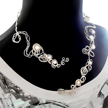 Open Necklace, Bib Necklace, Wedding Necklace, Silver Necklace, Adjustable, Collar Necklace, Pearl Necklace, Modern Jewelry