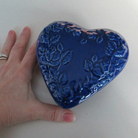Portugese Pottery Blue Heart Covered Dish