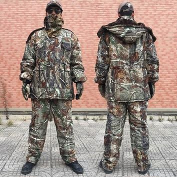 Men Winter Camouflage Hunting Clothing Camouflage Hunting Suit Winter Coat Pants Gloves Hat Camou Mask Cotton-padded Clothes