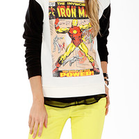 FOREVER 21 The Invincible Iron ManTM Sweatshirt Cream/Black Small