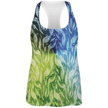 LMFCY8 Peacocks And Feathers All Over Womens Work Out Tank Top