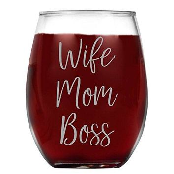 Shop4Ever Wife Mom Boss Laser Engraved Stemless Wine Glass ~ Gift for Mom ~ 15 oz Stemless