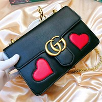 GUCCI New fashion love heart leather wallet purse chain shoulder bag crossbody bag two piece suit bag Black