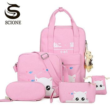 Scione Cartoon Kawaii Cat Printing Backpack Set Canvas Middle/High School Bag Laptop Travel Backpack Bagpack with Cute Gift Bear