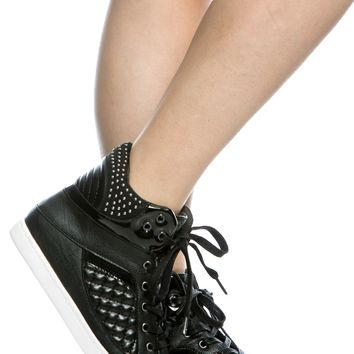 Black Faux Leather Lace Up High Top Sneakers @ Cicihot Women Sneakers-Fashion Sneakers,Casual Sneakers,Wedge Sneakers,Platform Sneakers,Hidden Wedge Sneakers,High Top Sneakers,Lace Up Sneakers,Studded Sneakers,Buckle Sneakers