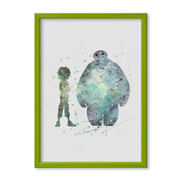 Hiro Hamada and Baymax FRAMED watercolor Big Hero 6 Poster Art Print Watercolor Print poster Disney 2