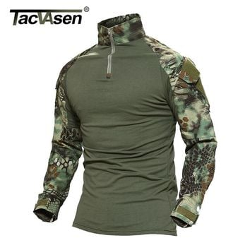 TACVASEN Python Camouflage Male T-shirts Army Combat Tactical T Shirt Military Men Long Sleeve T-Shirts WHFE-022