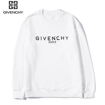 Givenchy hot casual couples long-sleeved hoodies fashion monogram print round-neck hoodies White