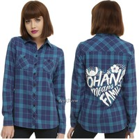 Licensed cool Disney LILO & STITCH OHANA MEANS FAMILY Blue Plaid Woven Long Sleeve Shirt Top