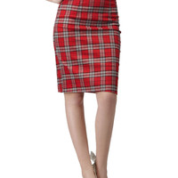 Red Plaid Pencil Midi Skirt with Back Slit