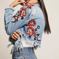Embroidered High-Low Denim Jacket