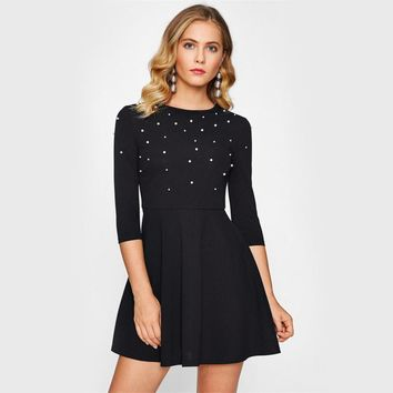 Pearl Embellished Party Dress Zip Fit & Flare Women Black 3/4 Sleeve Skater Dresses