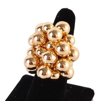 """2"""" gold cluster sphere stretch ring chunky"""