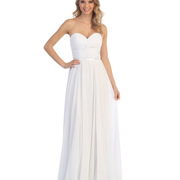 White Strapless Chiffon Sweetheart Corset Gown 2015 Homecoming Dresses