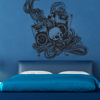 Vinyl Wall Decal Sticker Skull and Speakers #1215
