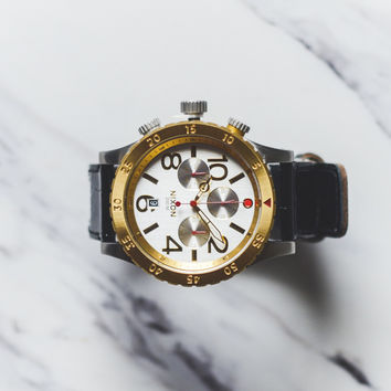 Nixon The 48-20 Chrono Leather - Silver/Gold/Black