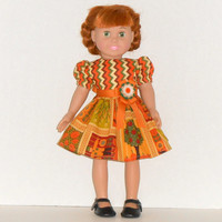 American Girl Doll Clothes Gold Patchwork Dress with Chevron Stripes fit 18 inch dolls
