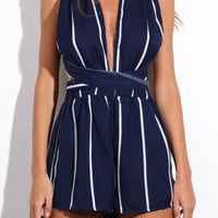 Navy Striped Plunging Crossback Romper