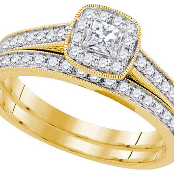 14k Yellow Gold Womens Princess Diamond Bridal Wedding Engagement Ring Band Set 1/2 Cttw 92701