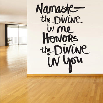 Wall Decal Vinyl Sticker Decals Namaste Indian Yoga Hamsa Words Sign Quote (z1343)