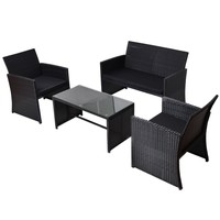 4 PCS Patio Rattan Wicker Furniure Set Sofa Coffee Table W/ Black Cushions New