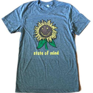 We Got Your Back Apparel  Sunflower Happy Is A State of Mind Graphic Tee Gray