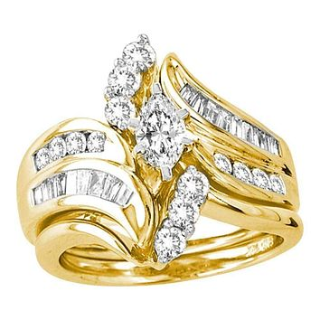 14kt Yellow Gold Women's Marquise Diamond Certified Bridal Wedding Engagement Ring Band Set 1-1/2 Cttw - FREE Shipping (US/CAN)