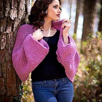 Modern Knit Shrug, Mauve Knit Shawl, Over Sized Shrug, Versatile Knit Scarf, Soft Hooded Scarf