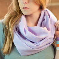 Cotton Scarf, Lavender Pastel Infinity Scarf, Lightweight Light Purple Gazue, Soft Circle Scarf, Ladies Scarves, Women's Spring Accessory