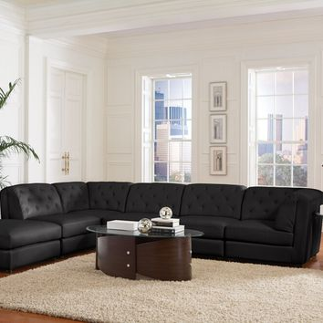 6 pc quinn collection black bonded leather upholstered modular sectional sofa set with tufted backs