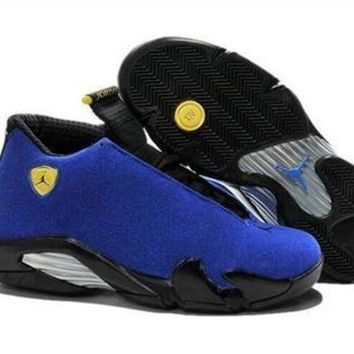 ONETOW Cheap Air Jordan 14 Retro Men Shoes Blue Black