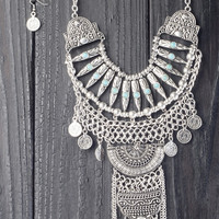 Statement Aztec Tribal Necklace Set - Silver