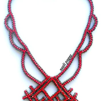 Christmas Sale - Necklace - Beaded Necklace - Red Crystal Necklace - Red sead beads-Custom Design-Rug pattern necklace