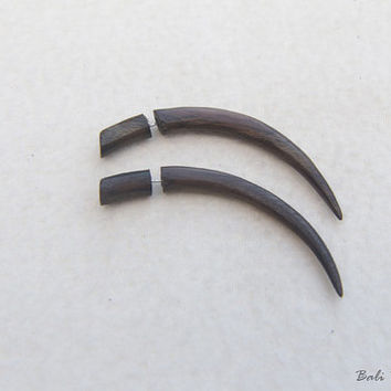 Tribal Fake Gauge Wood Earring, Long Talons Fake Taper Earrings, Handmade Fake Gage Wooden Earring