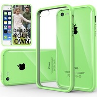 iPhone 5C Case, Caseology® [Fusion Series] Scratch-Resistant Clearback Cover [Lime Green] [Dual Bumper] for Apple iPhone 5C - Lime Green
