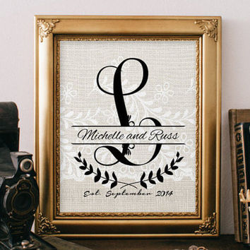 Burlap and Lace Monogram Print, Monogram Letter Personalized Name Art, Alphabet Print, Wall Art Home Decor, Wedding Gift for Newlyweds