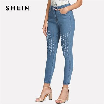 Pearl Beading Embellished Ripped Jeans