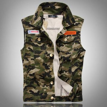 men s casual retro slim fit sleeveless denim vest outwear camouflage  number 1